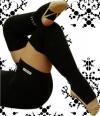 Pastorelli black long Junior leg warmers with foot, Art. 00478